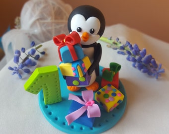 1st birthday cake topper, Penguin cake topper, cake figurine, birthday decoration, custom cake topper, 1st cake topper, animal cake topper