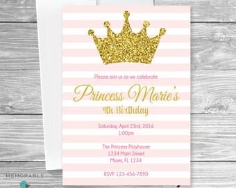 Princess Birthday Invitation - Princess Crown Birthday Invitation - Gold and Pink Birthday Invitations - Birthday Invitations - Printable