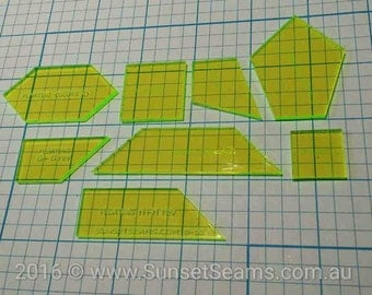 Floating Color NO Seam version (8 piece) Acrylic Patchwork Quilt Templates laser cut fabric cutting piecing