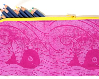 Pencil case with Hand printed fabric; whale pencil case; pink pencil case; zipper pouch