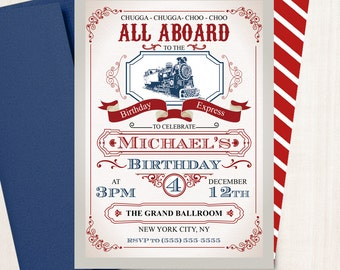 Birthday Express Train Invitation - Train Vintage - All aboard - Train Party - Any Age - Printed or  Printable File Free Shipping