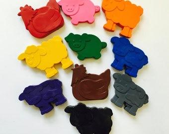 10 Farm Barnyard Animal Crayons Party Favors - Cow - Pig - Sheep - Chicken