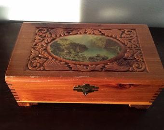 Vintage  Cedar Jewelry Box with découpage Landscape Scene