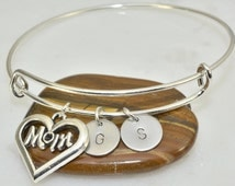 Personalized Mother And Daughter Bangle,1-6 Family Initial Bracelet,Mom Heart Bracelet,Mom Gift,Mother Daughter Bracelet,Expandable Bangle