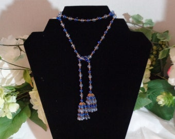 Lariat Long Beaded ,Blue Glass Linked, Bead Tassell Necklace, Brass Link Chain