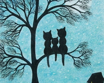 Cats in Tree Print: Framed Cats Print, Three Cats Print, Cat Art, Cats Tree Moon Stars, Art Gift, Black Cats Print, Children Gift, Kids Art