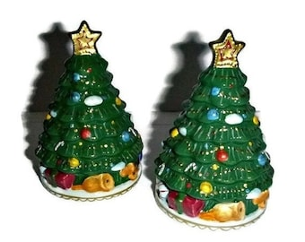 ON SALE Vintage Christmas Tree Salt & Pepper Shakers Porcelain Holiday Dining Entertaining Kitchen Home Decor S + P Ceramic Christmas Trees