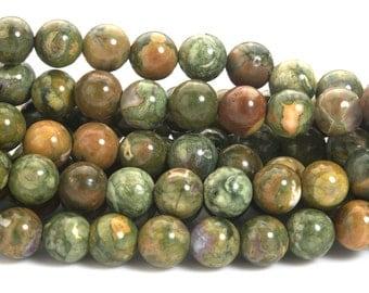 green rainforest rhyolite jasper beads - rainforest gemstone round beads -  6-12mm round beads -15inch
