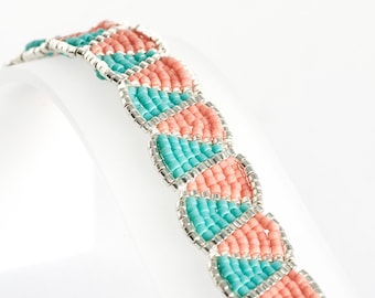 Delica Seed Bead Bracelet Beadwoven in Silver, Matt Turquoise, and Peach Seed Beads - Brick Stitch Bracelet - Seed Bead Jewelry - Wiggle