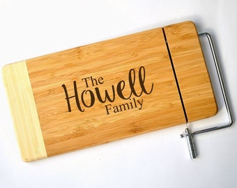 Personalized Bamboo Cheese Slicer