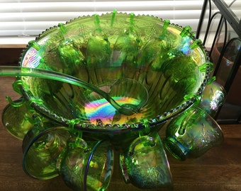 Green Carnival Glass Punch Bowl Set, Indiana Glass Vintage Punch Set, Vintage Party Carnival Glass Punch Bowl Set