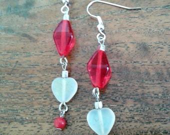 Red glass bead earrings, red earrings, long earrings, pierced earrings, red and white earrings, dangly earrings