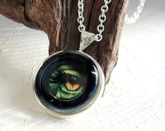 Eye Glass Dome Necklace, Photo Jewelry, Glass Dome Pendant, Art Print