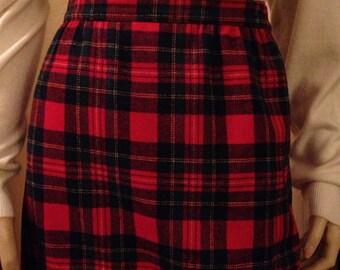 Beautiful Red and Green Tartan Pendleton Wool Skirt