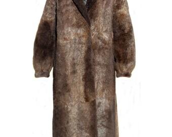Vintage Brown Beaver fur women long coat