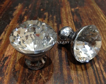 25MM*30MM Clear Crystal material Silver color base drawer knobs / dresser knobs/ cupboard knobs /  furniture knobs with screws DP0397