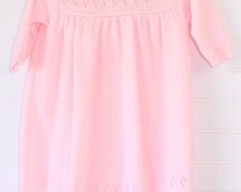 Vintage baby jumper. Pink knit jumper, no name jumper for 6-9 Mo