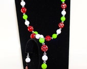 Red Green and White Gumball Childrens Jewellery Set