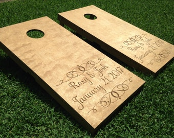 Custom Carved and Stained Cornhole, Bean Bag Toss, Corn Toss, Wedding Game, Cornhole Boards, Stained Cornhole Boards, Stained Cornhole