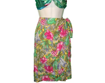 Floral Wrap Sarong Skirt Hawaiian Print 80s Barry Bricken Nordstrom Size 14 L teamvintageusa echochic team