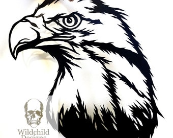 Eagle Head Paper Cutting Template for Personal or Commercial Use Wildchild Designs Alternative Bird Totem Spirit Guide Native American