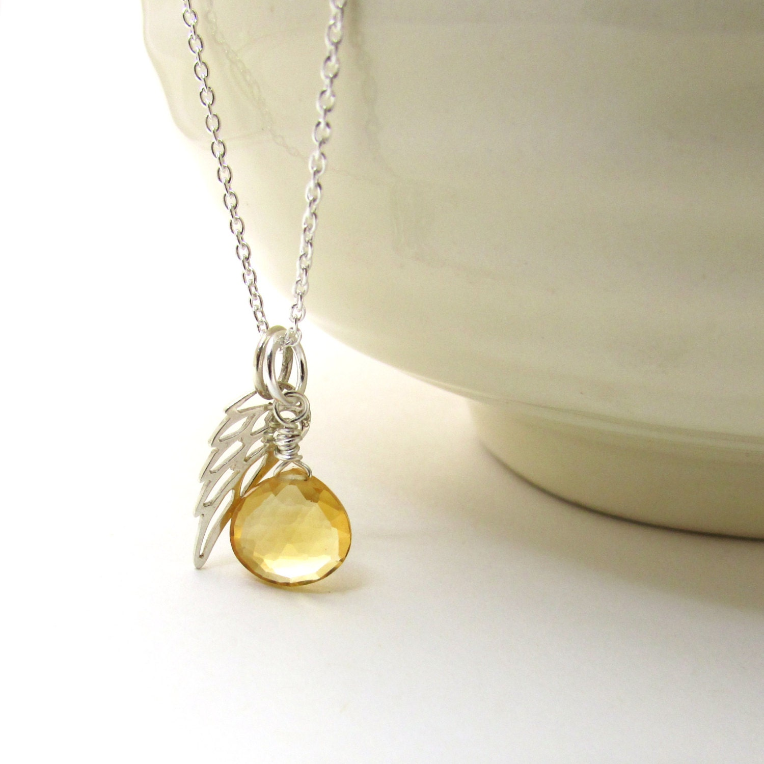 Guardian Angel Necklace Citrine Pendant With Angel Wing