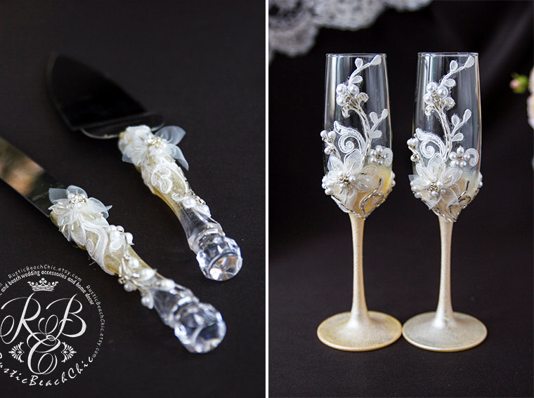 Vintage Wedding Set Champagne Flutes And Cake Server And