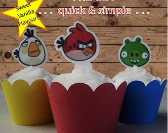Angry Birds EDIBLE wafer stand up toppers PRE-CUT,