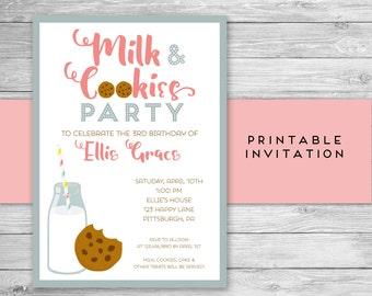 Milk and Cookies Invitation - Milk and Cookie Birthday Invitation - Printable Invitation