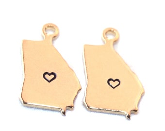 2x Gold Plated Georgia State Charms w/ Hearts - M115/H-GA