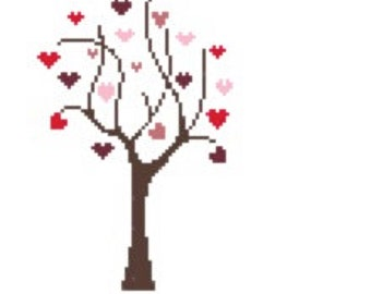 Tree Of Hearts Cross Stitch Chart PDF ** Instant Download **