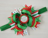 Baby's first Christmas bow, Baby's 1st Christmas headband, First Christmas baby bow, newborn Christmas bow, xmas bow for babies