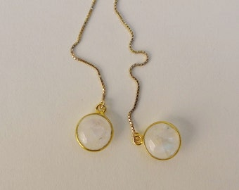 Moonstone Gold Chain Threader Earrings