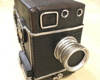 Vintage inspired Retro video recorder Camera Piggy Bank for coin, change, money