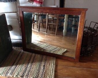 Vintage oak bevelled mirror