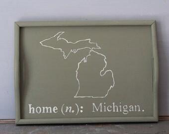 Wooden Tray / Painted Michigan Tray / Large Shabby Chic State Serving Tray / French Shabby Serving Tray / Decor Tray / Farmhouse Decor Tray