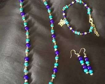 Necklace, earring and bracelet set