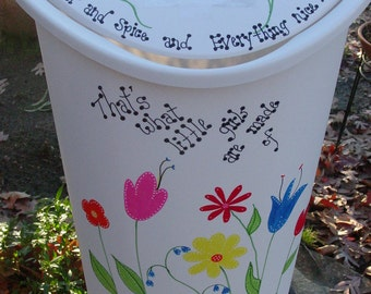 Girls Hand Painted Trash Can/Laundry Hamper