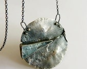blue aquamarine statement necklace, sterling silver ,  industrial necklace , modern necklace , made to order