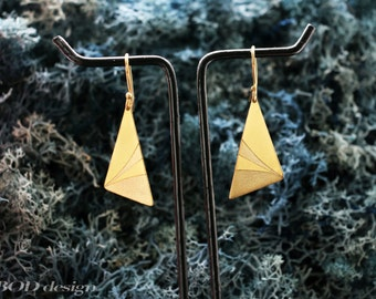 Hand carved triangle earring