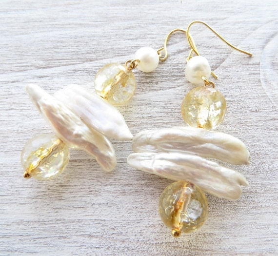 Yellow Citrine Earrings Biwa Pearl Earrings Dangle Earrings