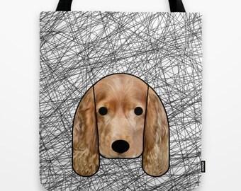 English spaniel tote bag dog shoulder bag dog bag dog purse dog lover dog portrait pet printed dog bag black and white modern tote bag pet