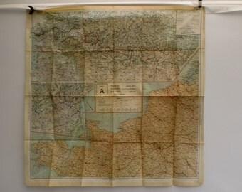Original WW2 Fold Up Silk RAF Pilots Map Sheet A France Belgium & Holland Military War Issue