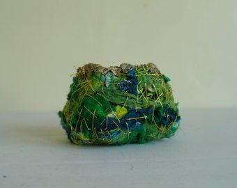 Experimental Vessel, Fibre Art Bowl, Textile Vessel, Textile Art  - Spring
