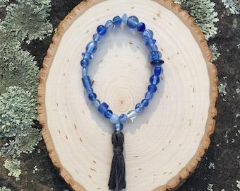 Mantra Mala Bracelet: Blue & Grey