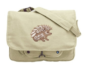 Hedgehog with Flourish Embroidered Canvas Messenger Bag