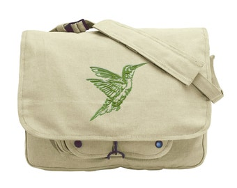 Northwoods Silhouette Hummingbird Embroidered Canvas Messenger Bag