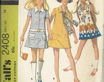 McCall's 2408   Girls Mini Dress     Size 14    C1970