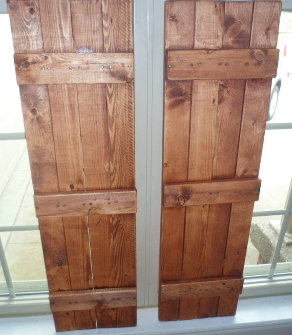 Hand crafted rustic primitive country american walnut shutters for Country shutters