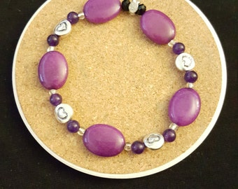 Purple with Silver Plated Hearts